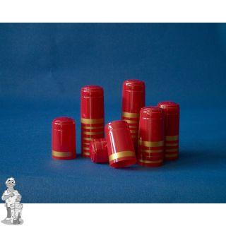 Krimpkapsules 1000 stuks rood rand goud