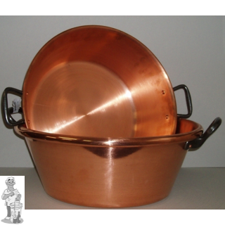 Confituurkookpot jamkook pan  1 mm  wanddikte 38cm 9L koper (enkel op gasvuur)