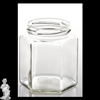 Jampot zeshoekig glas 390 ml inclusief off deksel 70 mm