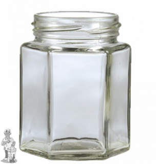 Jampot zeskant 280 ml incl twist off 58 mm