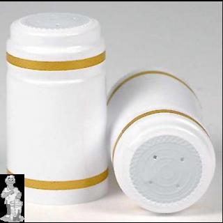 Krimpkapsules 50 stuks wit  rand goud bovenkant