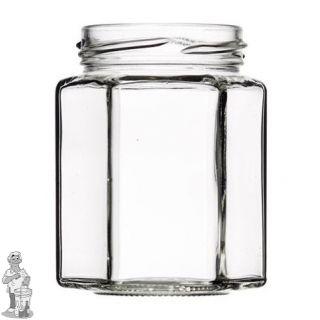 Jampot zeskant 110 ml inclusief twist off deksel 48 mm. per stuk